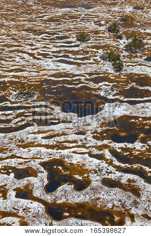 Aerial view of a swamps in the autumn. New Snow lies on the bog tussocks after first snowfall.