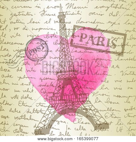 table top with sketching paper on hand-drawn writing background with eiffel tower and watercolor heart perfect for Valentine s day background