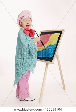 photo of little funny painter on white background
