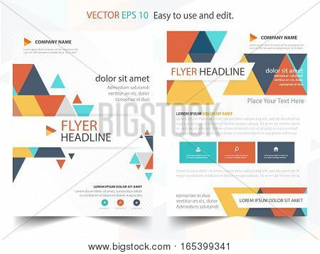 Colorful abstract triangle annual report Brochure design template vector. Business Flyers infographic magazine poster.Abstract layout template Book Cover presentation portfolio.