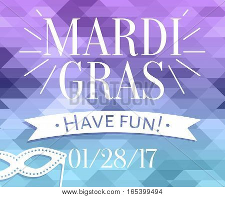 Mardi Gras inscription with masquerade mask silhouette on mosaic background. Design template for greeting card, Party invatation, web banner ad design, post card layout.