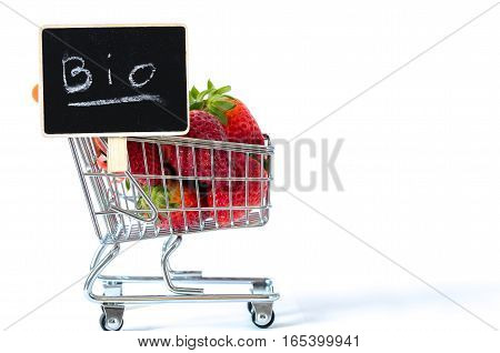 Organic Strawberries In A Shopping Cart