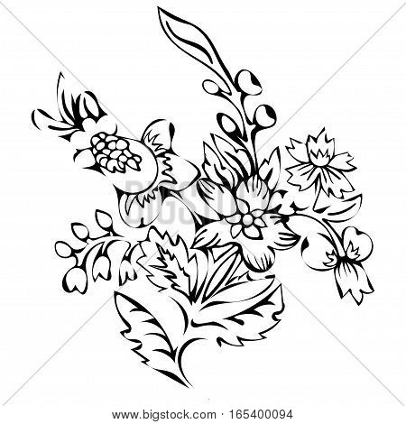 Abstract flower, fantasy blossom, coloring pictures, monochrome sketch, doodle plants, black and white illustration