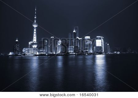 Shanghai view over Pudong area from the Bund by night