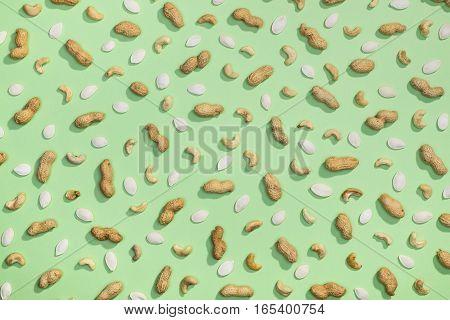 Peanut, Pumpkin Seeds And Cashews Flat Lay