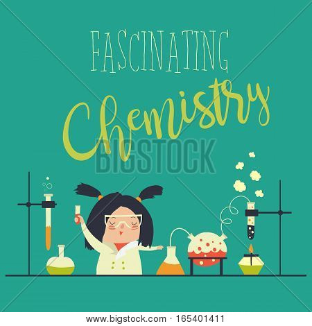 Girl working in the chemistry laboratory. Vector illustration