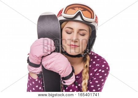 Funny girl skier in night pajamas. Isolated on white.