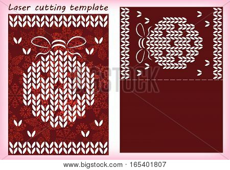 Laser cutting template with christmas tree bauble made of traditional knitted texture. For greeting cards, invitations. Card size 148 mm x 105 mm. Vector illustration.