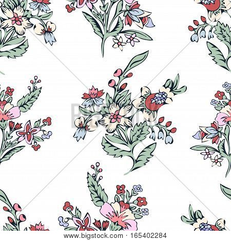 Abstract flowers seamless pattern, floral background. Fantasy multicolored flowers on a white backdrop. For the design of the fabric, wallpaper, wrapper, prints, decoration. Vintage vector illustration