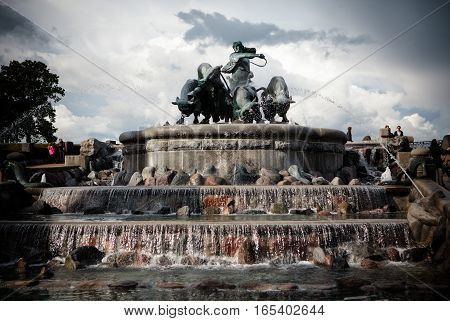 Gefion Fountain On The Harbour Front In Copenhagen, Denmark