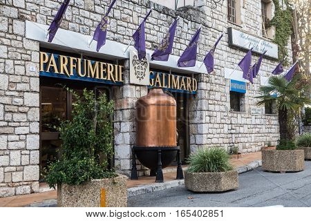 Eze France - November 4 2016: The historical Galimard Perfumery in the picturesque medieval village Eze in French Riviera near Nice.