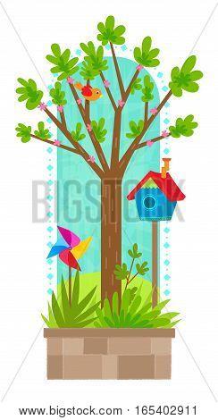 Clip art of tree in springtime with bird, birdhouse and pinwheel. Eps10