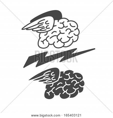 Brain with wings icon, vector illustration logo