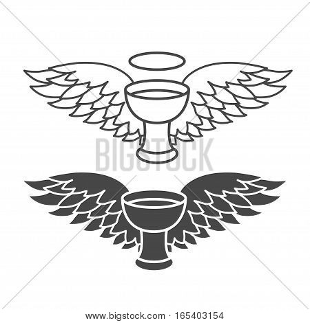holy grail with angel wings, vector graphic illustrations isolated on white background.