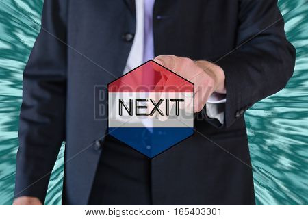 a concept of nexit (dutch elections) and eu flag and a business man