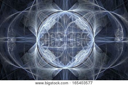 abstract image of geometric shapes of different shades of gray beautiful pattern convex shape of a flower with blurred circle substances in dark gray in the background.