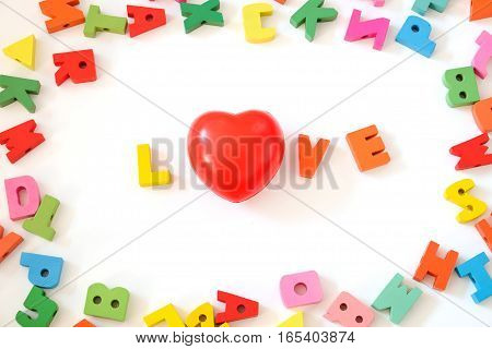 love alphabet with red heart on white background valentine concept