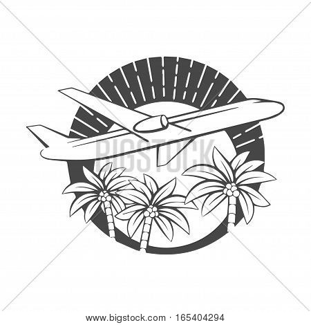 The flying airplane and Tropical Island with palms and sun, illustration logo