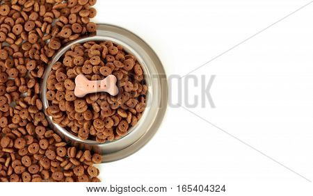 Dog Bowl With Pet Feed, Pink Bone On Half White Background Scattered Dry Food