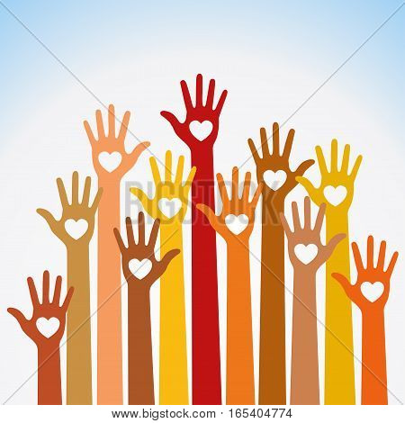 Red orange yellow colors colorful caring up hands hearts vector logo design element. Volunteers hands up with heart emblem  icon for education, health care, medical, volunteer, vote