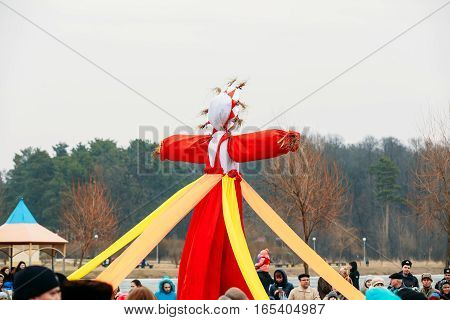 Gomel, Belarus - February 21, 2015: Effigies straw Maslenitsa on the traditional holiday dedicated to the approach of spring - Slavic celebration Shrovetide.