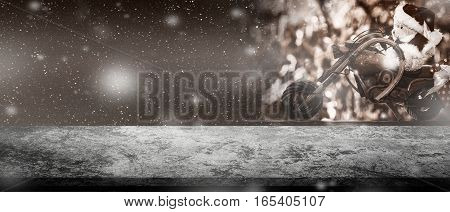 Panorama Retro Dark Concrete Tabletop With Blurry Santa Bear Doll On Motocycle Vintage Gift Box Tone