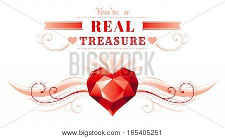 Happy Valentines day border, ruby gem treasure heart. Romance, love text lettering, isolated frame white background. Cute romantic Valentine banner vector illustration. Abstract design. Flat cartoon