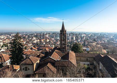 View from above of Rivoli near Turin, Italy