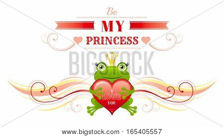 Happy Valentines day border, frog prince in crown, heart. Romance, love text lettering, isolated frame white background. Cute romantic Valentine banner vector illustration. Abstract flat cartoon sign