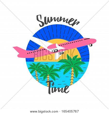 flying airplane, palms trees, sea and sun, vector color illustration logo