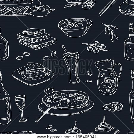 Vector hand drawn seamless pattern spanish cuisine: soup, liver in garlic Paella, meal with rice and seafood, fried cookie churros. Vintage illustration for design menus, recipes and packages product.