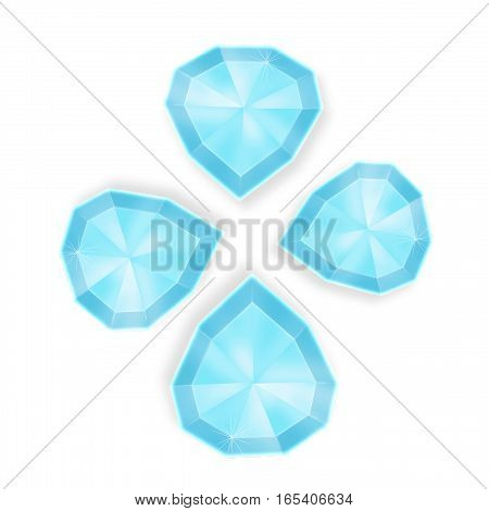 Blue diamond symbol.  Diamonds illustration in a flat style.  Set diamonds isolated.