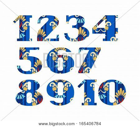 Numbers, gold flowers, vector, blue.  Colored, vector figures with serifs. Gold and blue flowers on a blue striped background. Imitation of gold embroidery.