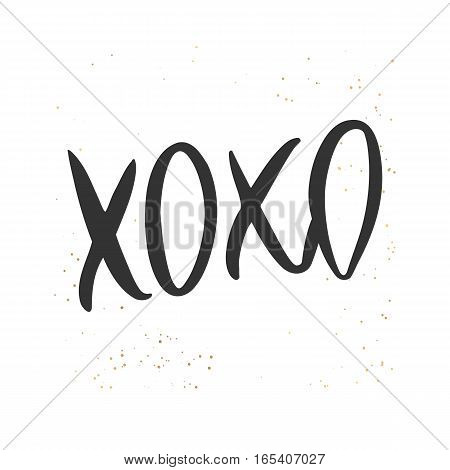 Romantic decorative poster with handdrawn lettering. Modern ink calligraphy. Handwritten black phrase XOXO and golden messy texture on white. Trendy vector design for Valentine Day or wedding