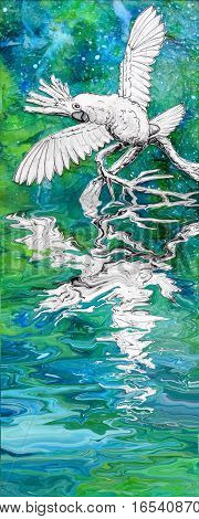 A cheerful cockatoo parrot with wings outstretched reflected in water. Original mixed media collage artwork. Black and white drawing on a colorful background.