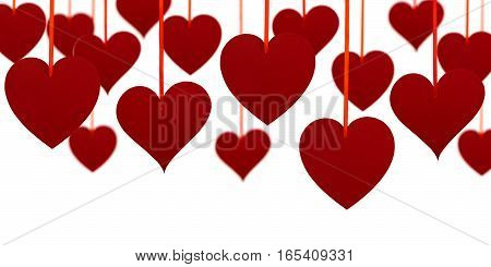 Valentine's day upper decoration with hanging hearts on white background.