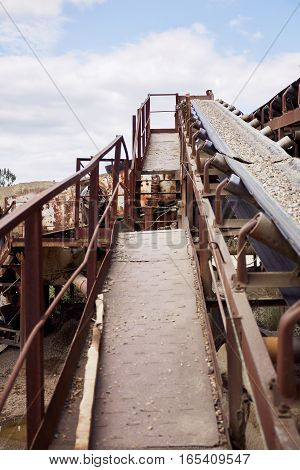 Conveyor belt of stone crushing plant.  Industry.