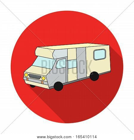 Campervan icon in flat design isolated on white background. Family holiday symbol stock vector illustration.