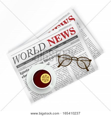 Newspaper, coffee and sunglasses. World news. Regional newspapers news