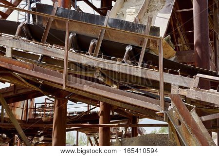 Conveyor belt of stone crushing plant. Industry.