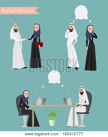 Arab Business People Meeting Discussing Muslim Arabic Businesspeople Working Flat Vector Illustration