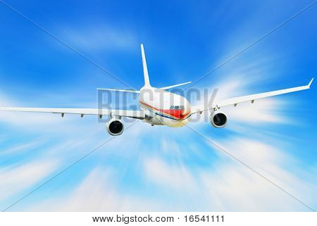 Airplane isolated over sky background poster
