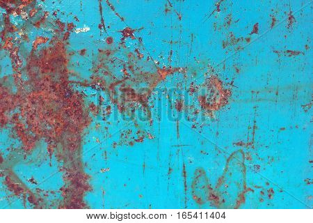 texture of blue painted rusty metal sheet
