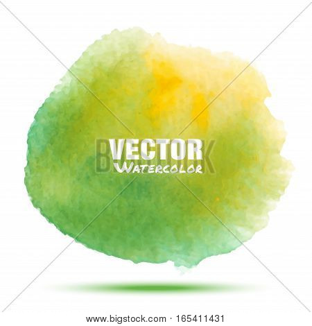 Bright green - yellow spring transparent watercolor vector stain. Vibrant watercolor vector spot design element isolated on white background. Spring blur blot green watercolor vector illustration