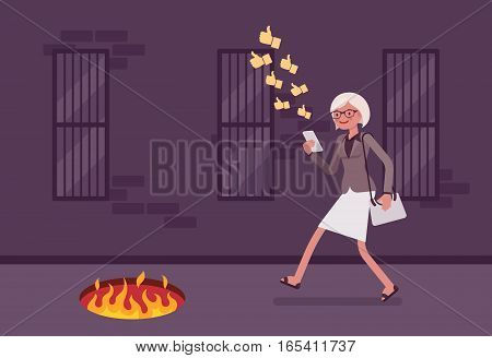 Young carefree woman walking down the street, looking at the screen of her phone, sending likes, unaware of pit with fire in front, getting hurt while texting, mobile distraction, unseen path