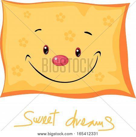 cute pillow sweet dreams - vector illustration