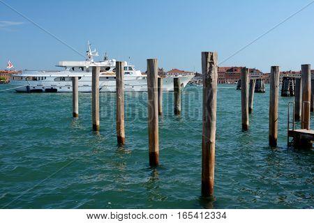 Venice Italy - September 9 2016: Luxury Yacht moored in Venice Italy.