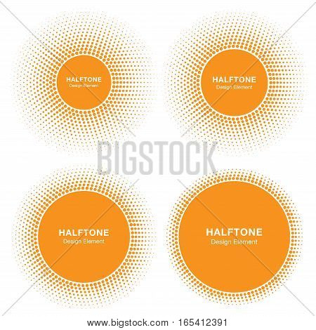 Set of Sunny Circle Halftone Logo Design Elements. Sun vector icon. Sun halftone emblem for health, treatment, medical, cosmetic, pharm. Honey sun logo vector illustration
