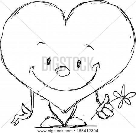 cute heart valentine - black sketch vector illustration