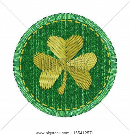 Green round denim patch with golden shamrock embroidery, stitch and fringe. Jeans fabric with Irish symbol of Saint Patricks Day.